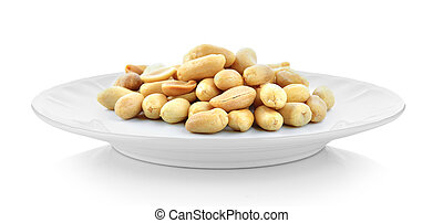 peanuts in white plate on white background