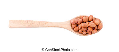 Peanuts in wooden spoon isolated on white background