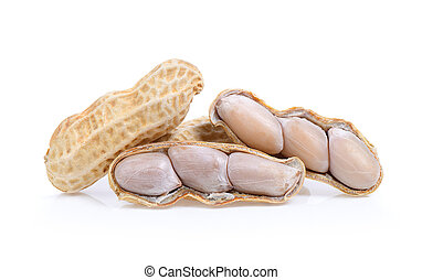 Peanuts isolated on white background. Full depth of field.