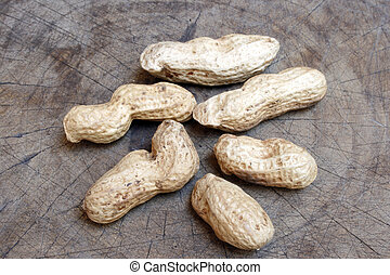 Peanuts on old wooden