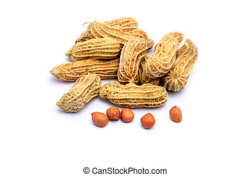 Peanuts on white background