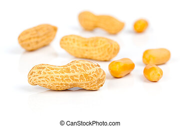 Peanuts, on white background