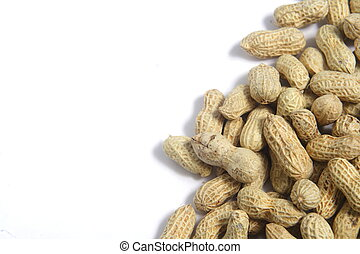 Peanuts on White - spill Peanuts on White background