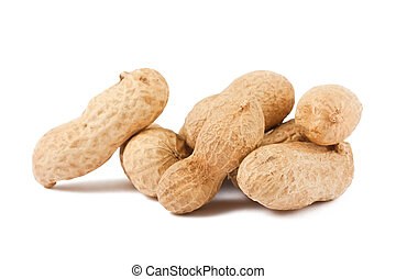 Ripe peanuts in a pile isolated on white background
