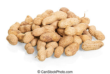 Peanuts unpeeled close-up isolated on white.