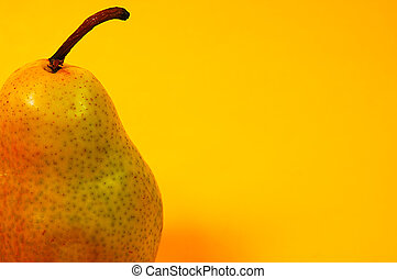 Pear 4 - Photo of a Pear on Yellow Background.