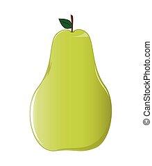 A ripe, yellow green pear.