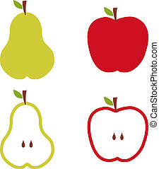 Apple and pears pattern silhouettes over white background.