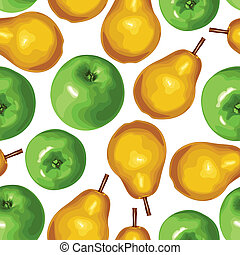 Pear and apple seamless pattern