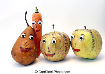 PEAR and carrot and two apples with very big eyes