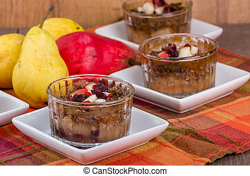Pear and cranberry crisp dessert - A pear and cranberry...