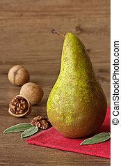 Pear and walnuts.