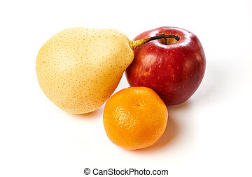 Pear, apple and tangerine isolated
