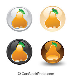 Pear button, set, web 2.0 icons