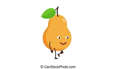 Pear cartoon character walking and smile