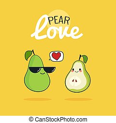 Pear cartoon characters, Cute fruit couple, Vintage poster flat design with Vector illustration