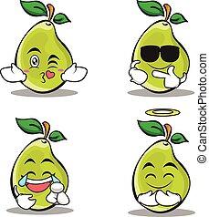 Pear character cartoon of set