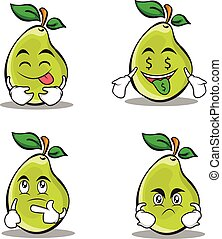 Pear character cartoon set collection