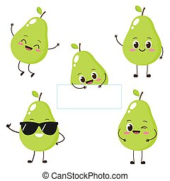 Pear character with funny face
