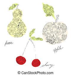 Pear, cherry, apple