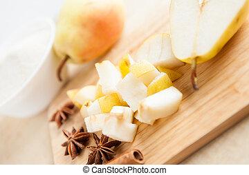 pear cut into small chunks