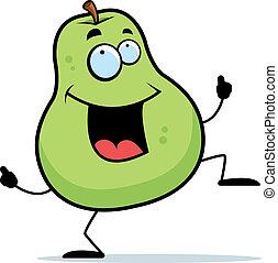 Pear Dancing - A happy cartoon pear dancing and smiling.