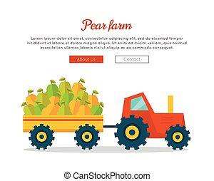 Pear Farm Web Vector Banner in Flat Design.