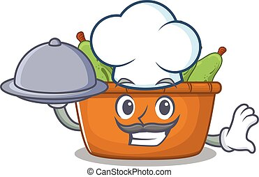 Pear fruit box as a chef cartoon character with food on tray