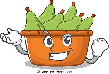 Pear fruit box cartoon character style with happy face