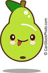 pear fruit cartoon character icon kawaii Flat design Vector