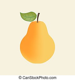Pear Fruit Icon on the yellow background. Vector...