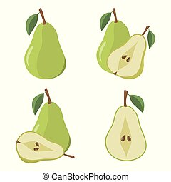Pear fruit on a white background.