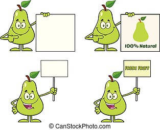 Pear Fruit With Green Leaf Cartoon Mascot Character Set 5. Vector Collection