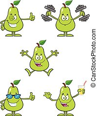 Pear Fruit With Green Leaf Cartoon Mascot Character Set 6. Collection