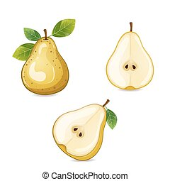 Pear fruits with leaves isolated on