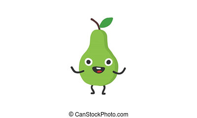 Pear funny character dances and smiles. Loop animation....