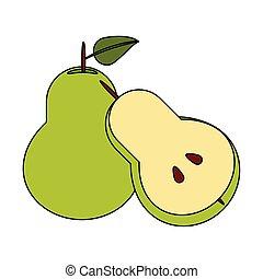 Pear half cut fresh fruit healthy food