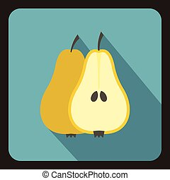 Pear icon, flat style
