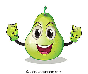 Illustration of a pear with face