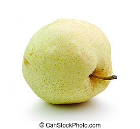 Pear in closeup on a white background