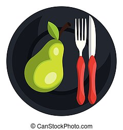 pear in dish with fork and knife