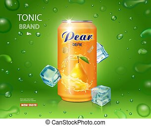 Pear juice drink aluminium can with ice cubes realistic advertising design