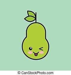 pear kawaii icon design