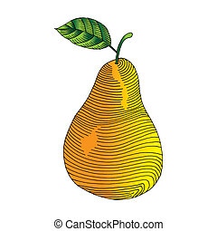 Pear label with leaf