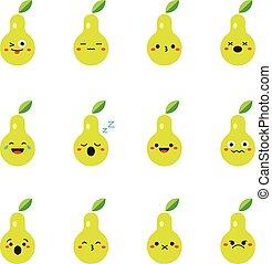 Pear modern flat emoticon set