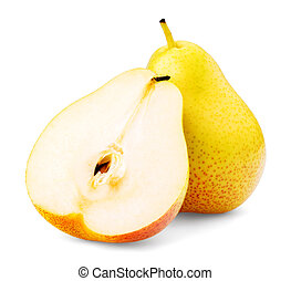 Pear on a white background, isolated, close-up