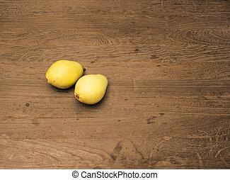 pear on wood table