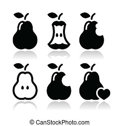 Pear, pear core, bitten vector - Black icons set of pears...