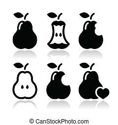 Pear, pear core, bitten vector