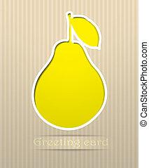 Pear postcard vector illustration